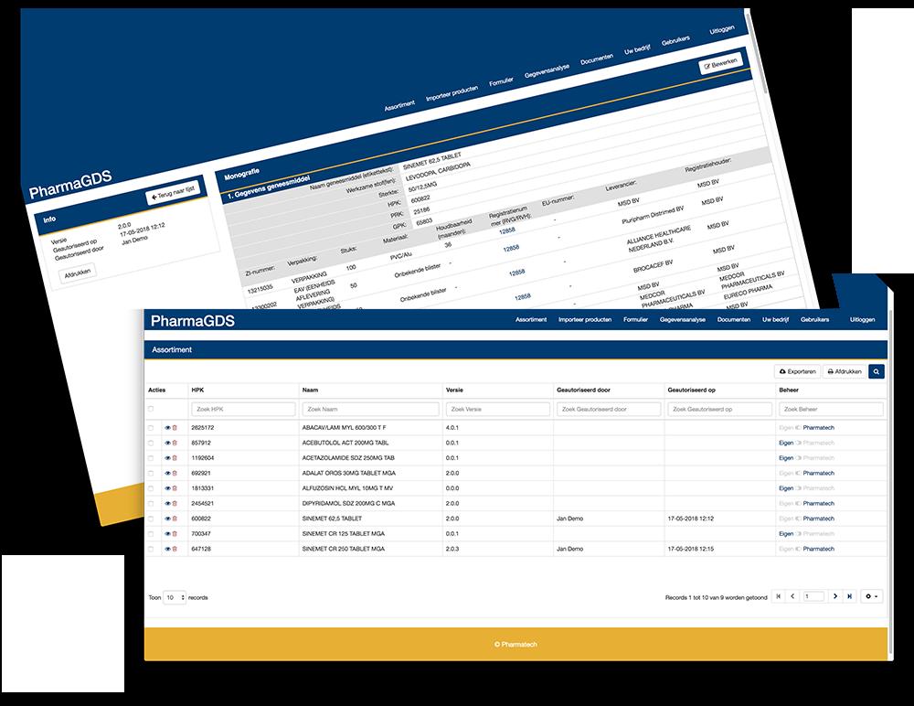 PharmaGDS GDS-assortiment screenshot